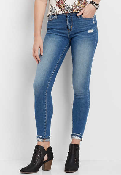 Flying Monkey™ Destructed Cuff Hem Skinny Jean