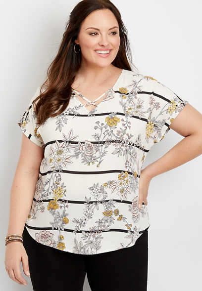 plus size floral lattice neck blouse