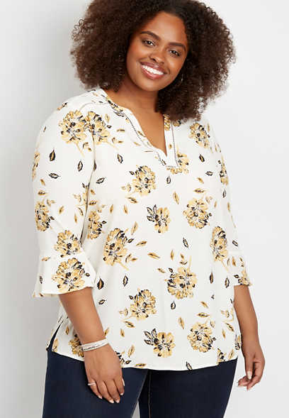 plus size floral crochet trim tunic blouse