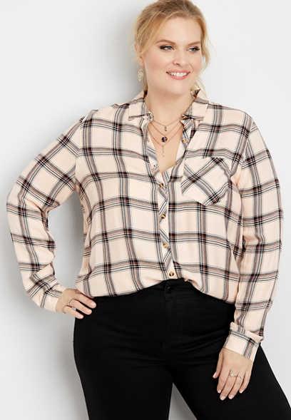 plus size plaid long sleeve button down shirt