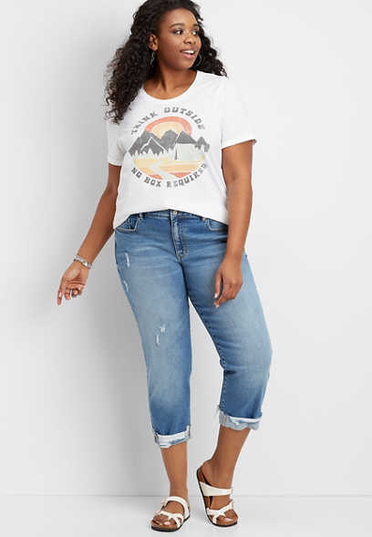 Plus Size KanCan™ Destructed Cuff Boyfriend Cropped Jean