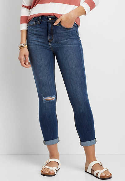 KanCan™ High Rise Destructed Cropped Jean