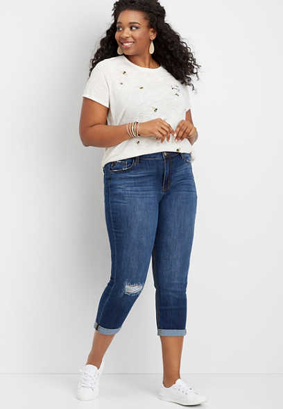 Plus Size KanCan™ High Rise Destructed Cropped Jean