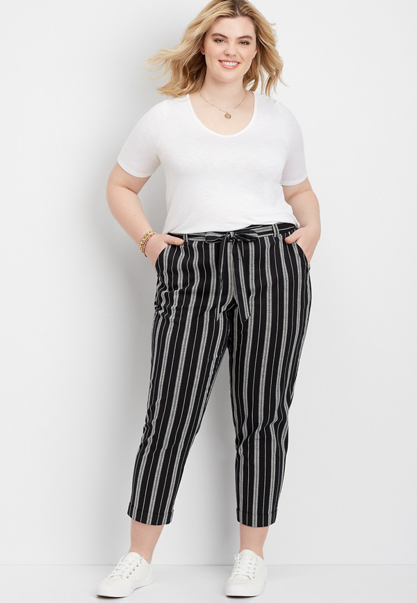 plus size stripe pull on paper bag waist skinny ankle pant