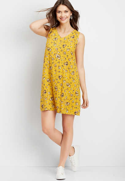 Floral Strappy Back Shift Dress