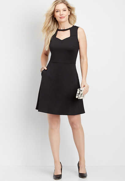 Cutout Neck Pocket Dress
