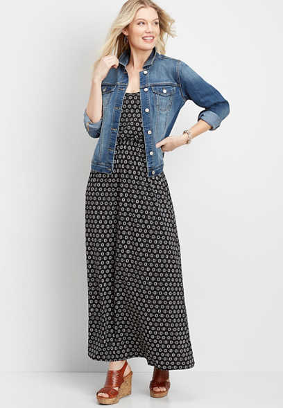 pop mod dot pocket maxi dress