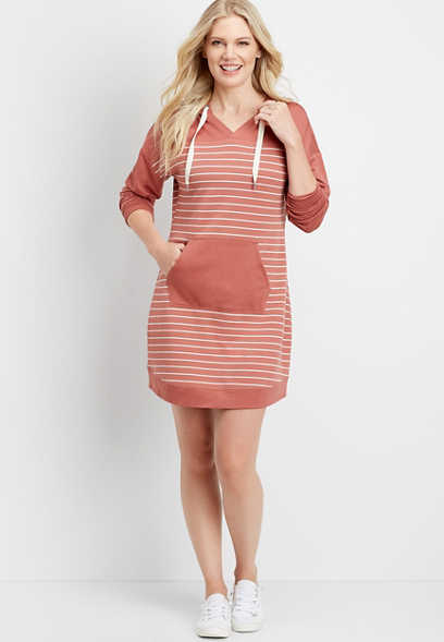 Stripe Hooded Sweatshirt Dress