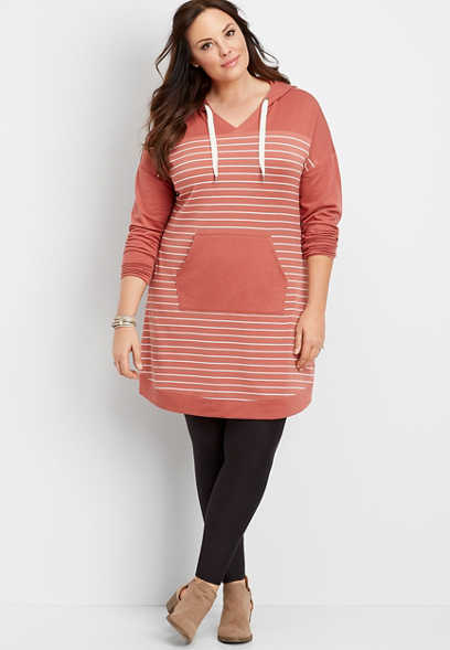 plus size stripe hooded sweatshirt dress