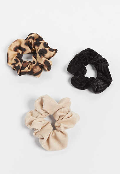 3 Pack Leopard Mix Scrunchie Set