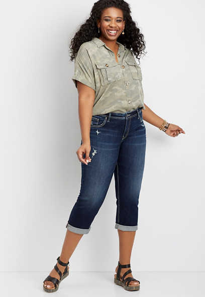 Plus Size Silver Jeans Co.® Suki Dark Wash Destructed Capri