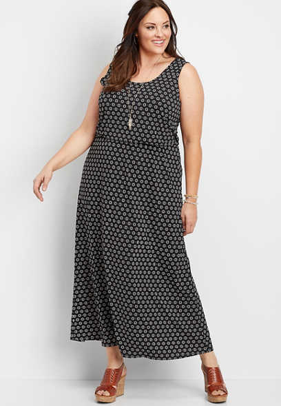 plus size pop mod dot pocket maxi dress