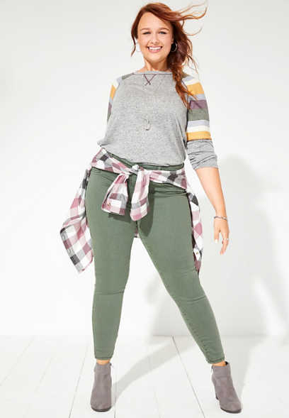 Plus Size DenimFlex™ Olive Color Jegging