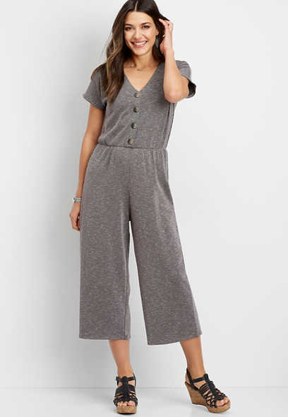 Rib Knit Wide Leg Jumpsuit