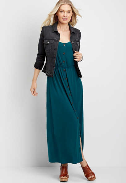 solid button front maxi dress