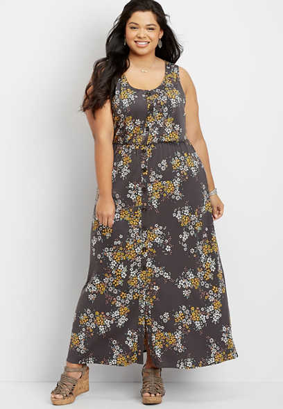 plus size floral button front maxi dress