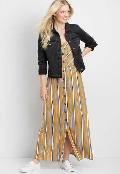 stripe button front maxi dress