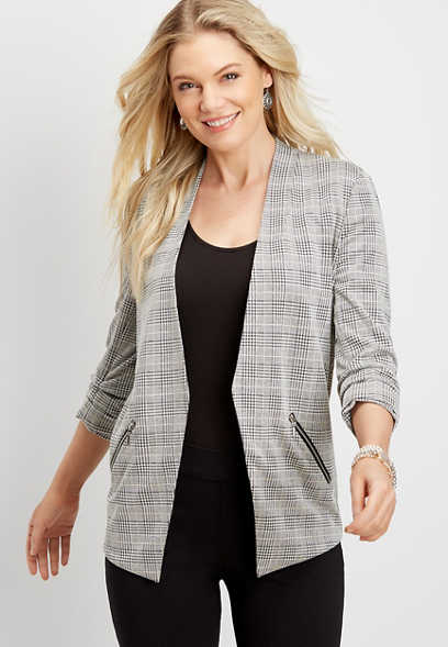 asymmetrical plaid open front blazer