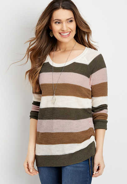 stripe ruched side pullover