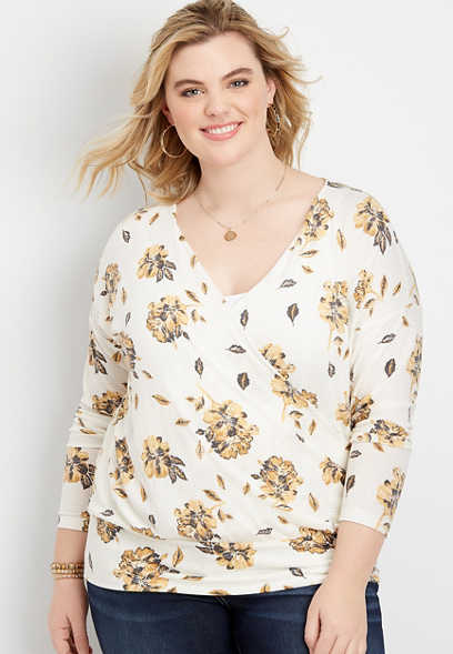 plus size floral wrap blouse