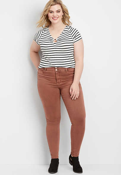 Plus Size DenimFlex™ High Rise Terra Cota Color Jegging
