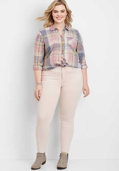 Plus Size DenimFlex™ Pink Foam Color Jegging