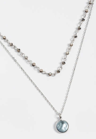 2 row dainty pendant necklace