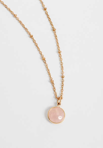Dainty Pink Stone Necklace