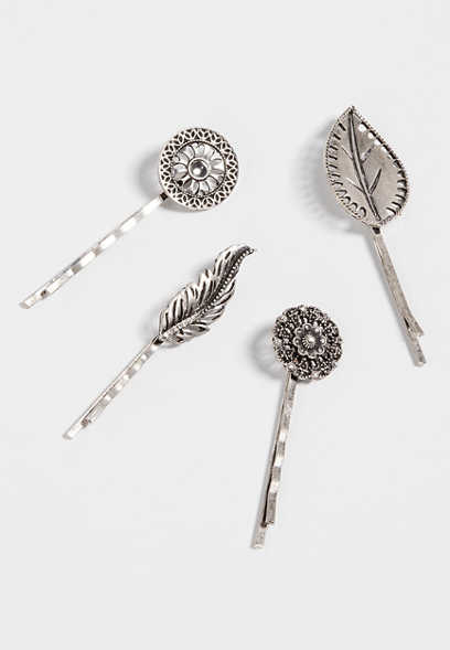 4 piece feather bobby pin set