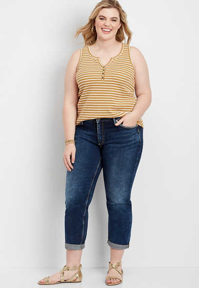plus size Silver Jeans Co.® dark wash boyfriend jean