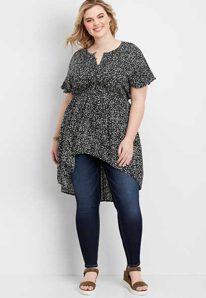 plus size ditsy floral high low tunic