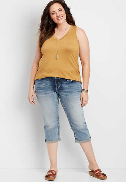 Plus Size Vigoss® Medium Wash Faux Flap Pocket Capri