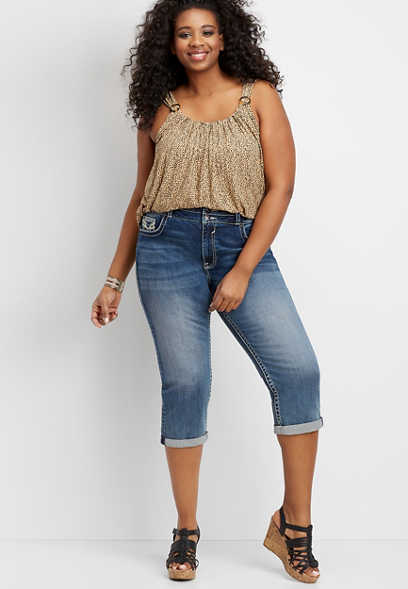 Plus Size Vigoss® High Rise Stacked Waist Capri