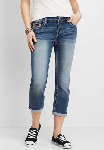 Vigoss® Medium Wash Thick Stitch Cropped Jean