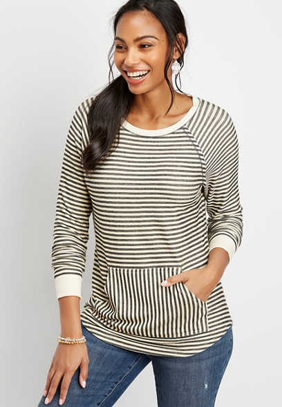 stripe pocket pullover