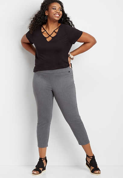 Plus Size Pull On Bengaline Crop Pant