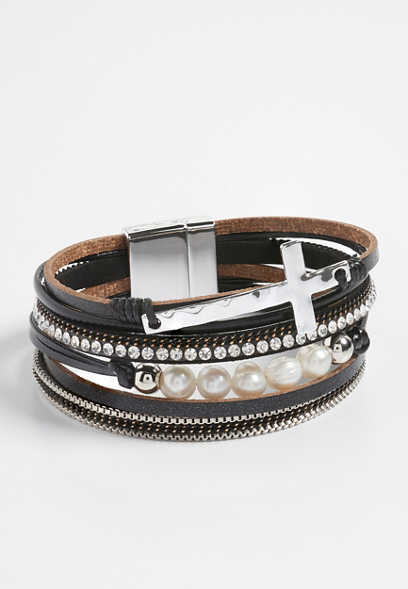 black multi row magnetic bracelet
