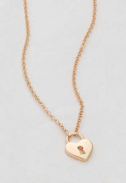 dainty heart lock pendant necklace