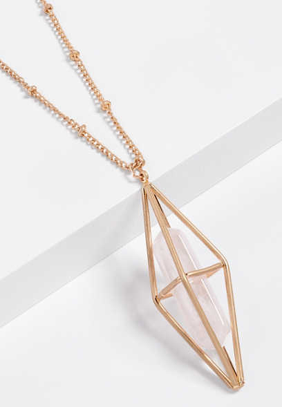 pink caged pendant necklace
