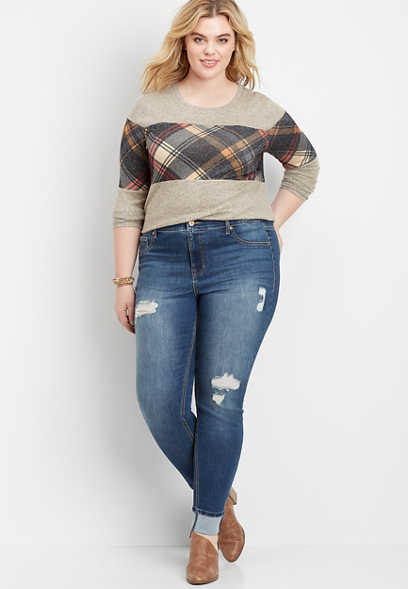 plus size DenimFlex™ high rise destructed cuffed jegging