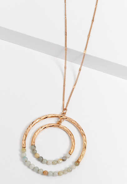 beaded double circle pendant necklace