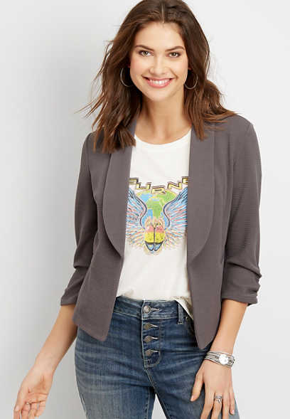 textured open front blazer