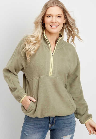 fleece zip neck pullover