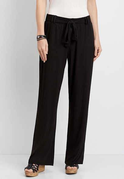 Rib Knit Stretch Pull On Wide Leg Pant