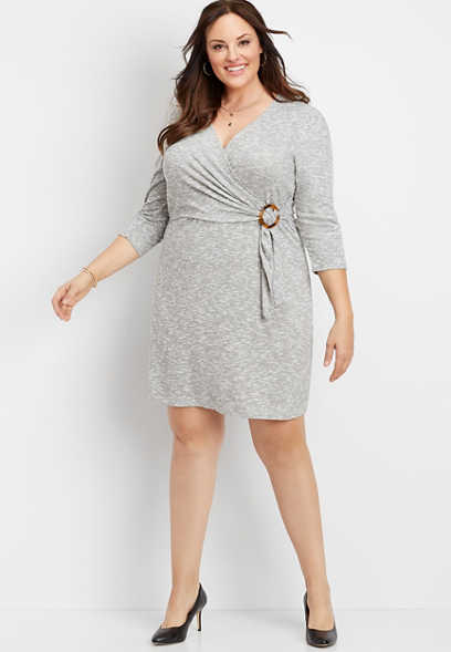 plus size tortoise ring wrap sheath dress