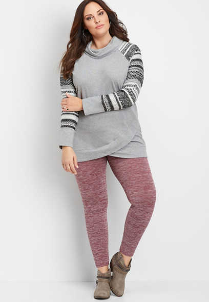 plus size space dye fleece lined legging