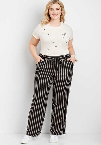 plus size stretch pull on wide leg pant