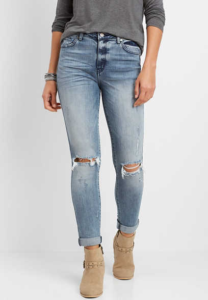 KanCan™ high rise destructed girlfriend jean