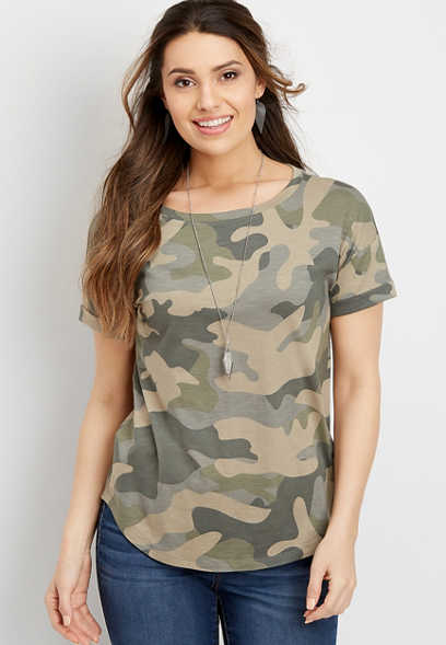 24/7 camo drop shoulder tee