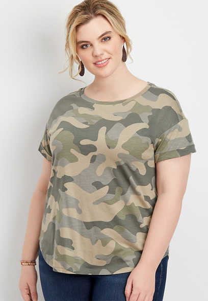 plus size 24/7 camo drop shoulder tee